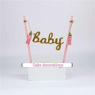 New baby gender celebrations cake topper decorations baby shower party full month party girl birthday