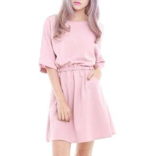 SOPHIALUV KAYE OVERSIZE CASUAL DRESS IN PINK - FREE SIZE