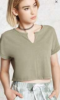 BN F21 Olive Crop Top Split Neck Cuffed Tee