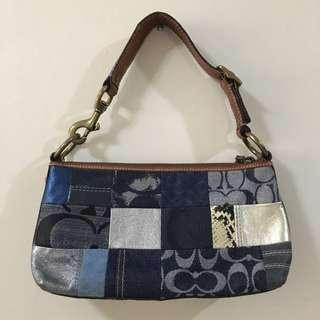 AUTHENTIC COACH denim blue patchwork handbag