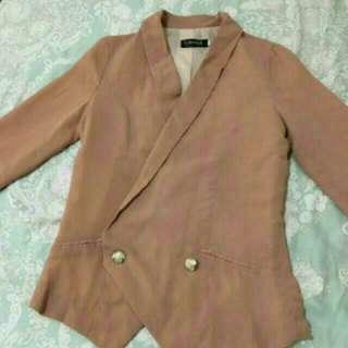 韓版粉藕色雪紡西裝外套
