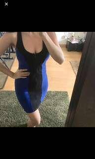 Authentic Bebe sexy front zipped  bodycon dress