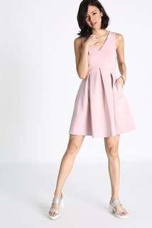 Love Bonito Nadane Box Pleats Dress in Blush Pink