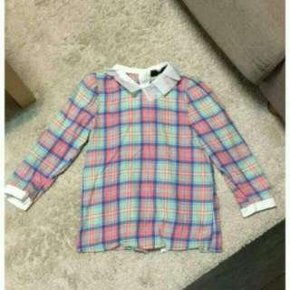 韓版可愛彩色格紋七分袖襯衫
