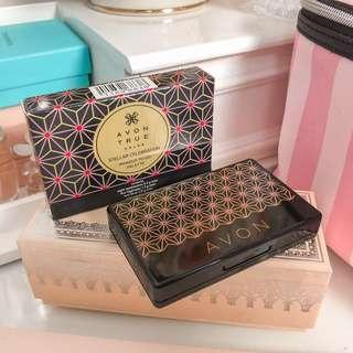Avon stellar celebration make up to go palette with eyeshadow, lipgloss, blush and a mirror with box