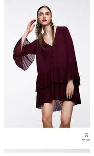 New Zara Pleated Dress size medium