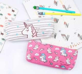 🚚 BN Unicorn Pencil Case Assorted Designs Pink/Blue/White Ready Stock!