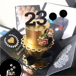 Happy 23 birthday Explosion Box card in 3 Layers