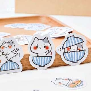 🚚 [In stock] 45pcs Cat in bowl sticker set for journal/planner or scrapbook