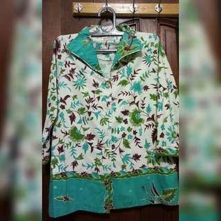 SHOKHA Batik Motif Daun Cokelat Hijau Toska Putih