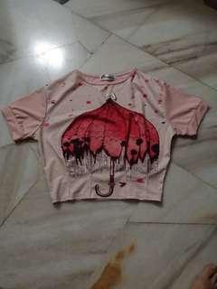 Baby pink loose crop top