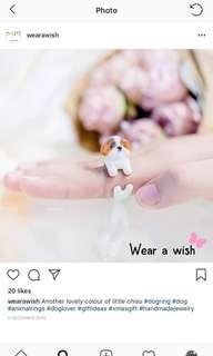 BNIB 18k gold plated hand made animal ring - shih tzu