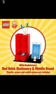 *In Stock* Lego Brick 60th Anniversary Red Brick Stationery and mobile stand