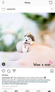 BNIB 18k gold plated hand made animal ring - hedgehog