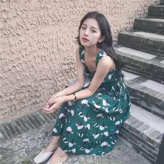 •PO• Tropical flower petals sleeveless long dress