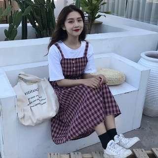 •PO• Korean Ulzzang girls checkered sleeveless button dress