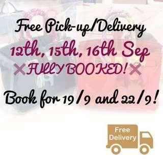 17/9 - 23/9: Free Pick-ups and Deliveries!