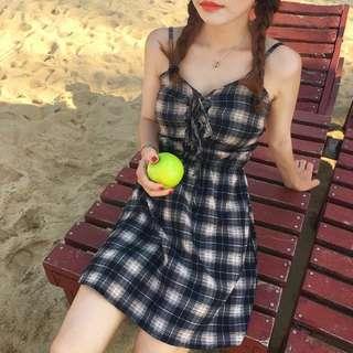 •PO• Ribbon tie front Checkered Sleeveless Dress