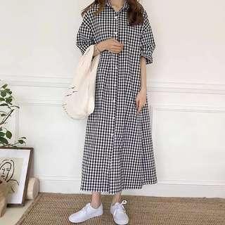 •PO• Korean long Checkered Dress