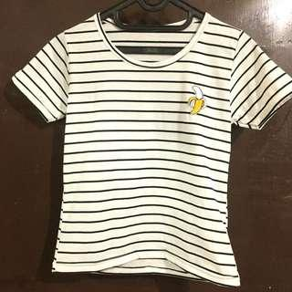 Basic Strip Tee with Banana Patch