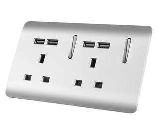 Double (3 Pins) 13A Wall Socket with Fast Charge USB Sockets (4x)
