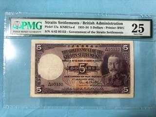 1932 Straits Settlement $5