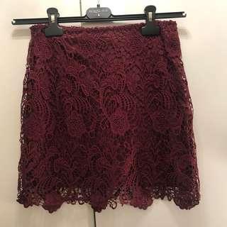 HnM H&M burgundy red lace skirt pencil skirt Halloween party dress 酒紅色喱士高腰裙