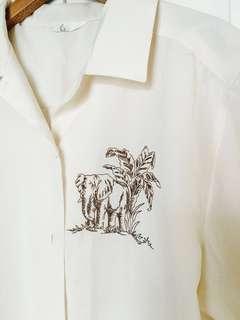 🚚 《狩獵風》非洲大象米色刺繡古著襯衫