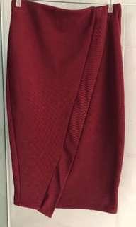 Zara Trafaluc Maroon pencil skirt