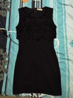 Black half lace dress