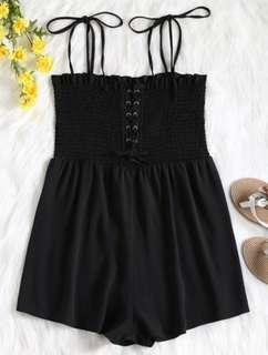 Cami Laced Up Smocked Romper