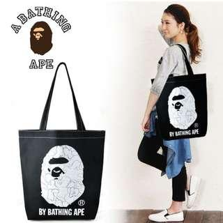 Instock!  Bathing Ape BAPE Contrast Seam (Black) Canvas Tote Bag ASC3223 *Magazine GWP* + FREE Post *shoulder shopper shopping reusable bag*
