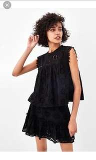 Zara Black Crochet Sleeveless