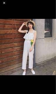 Stripe buckle wide leg jumpsuits