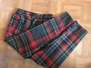 🚚 Vintage 格紋褲 紅