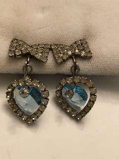 Vintage sterling silver rhinestones & crystal heart earrings