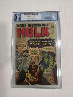 Incredible Hulk #2, PGX 1.8, 1962