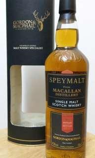 麥卡倫lB19年威士忌700ml with box一支。