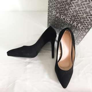 SM Parisian Black Suede Heels