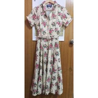 40s/50s style vintage inspired Collectif cream floral shirt dress