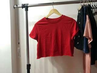 Red Cropped Shirt