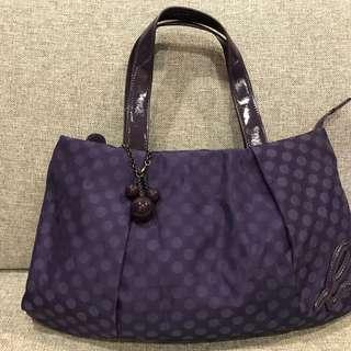 全新 真品 Agnes b. 普普風 附球球吊飾 深紫色點點 肩背包 手提包 側背包