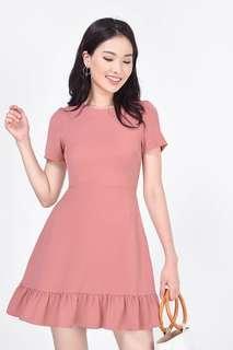 Fayth Carien Ruffle Hem Dress in Dusty Rose
