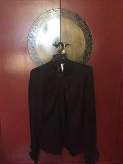 Auth Salvatore FERRAGAMO 100% SILK black made in Italy shirt