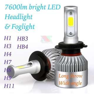 LED Headlight Foglight 7600lm