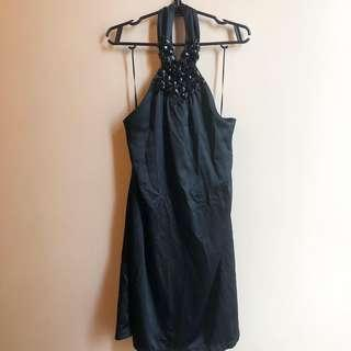 Halter black dress preloved great for parties P300 only. Backless. Free size but i think will fit small to med no specific measurements