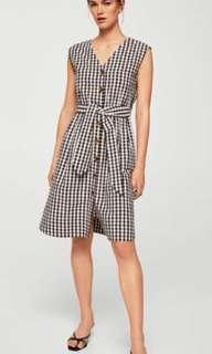 Mango Gingham Tie Sash Textured Dress