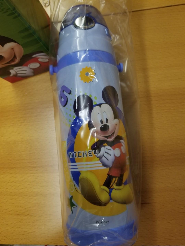 迪士尼水樽保温壺 全新迪士尼兒童保温壺帶吸管杯子小學生不銹鋼防摔水杯幼兒園用全新未開封