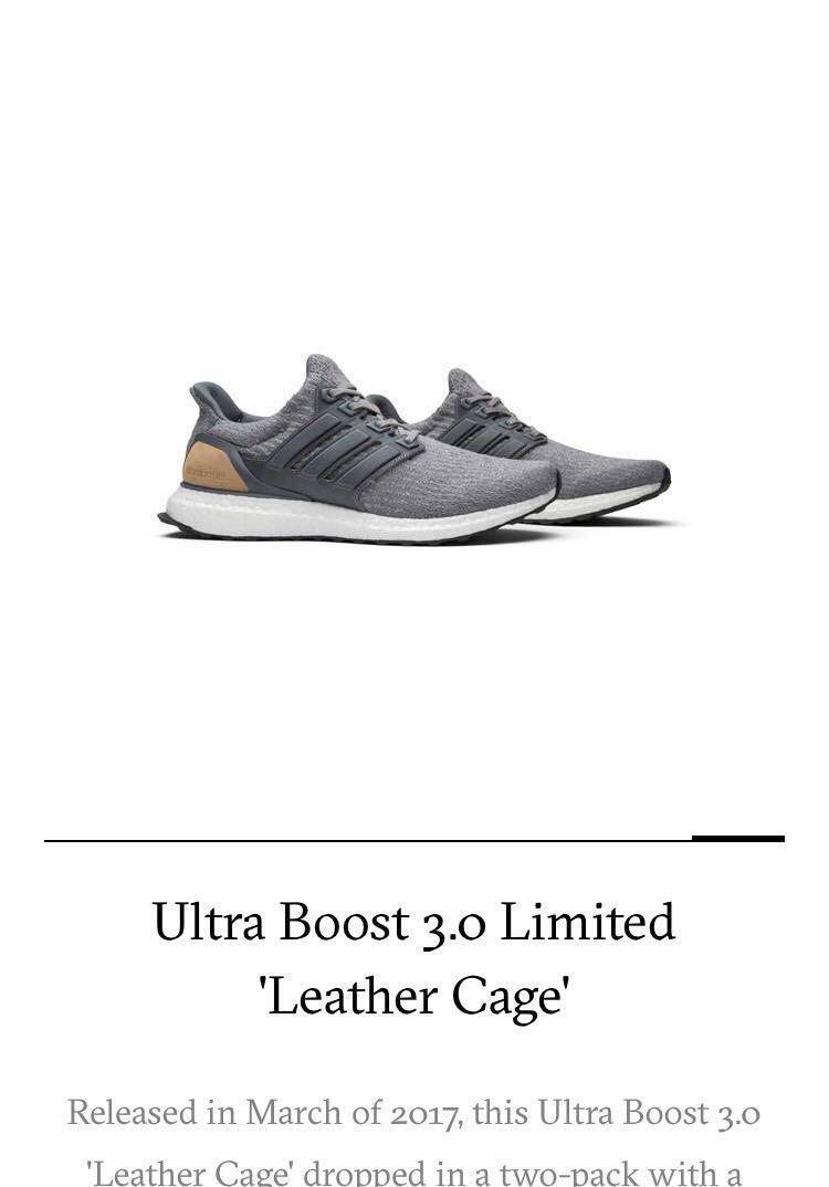 big sale 916ec bf1ce Adidas Ultra Boost 3.0 Limited Leather Cage, Mens Fashion, F