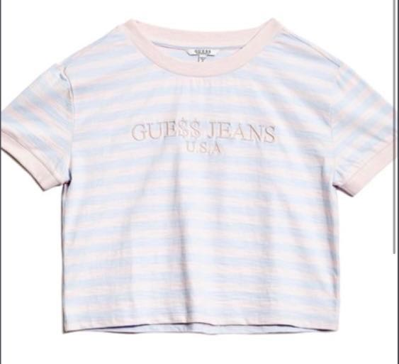 aa6845648de ASAP ROCKY X GUESS Cotton Candy ringer Crop tee, Women's Fashion, Clothes,  Tops on Carousell